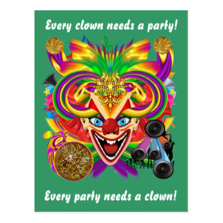 Mardi Gras Clown View Notes please Postcard