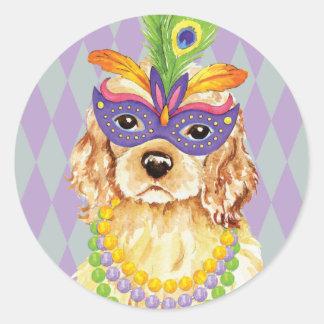 Mardi Gras Cocker Spaniel Classic Round Sticker
