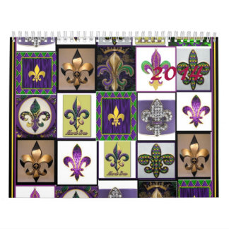 Mardi Gras collage fleur de lis 2014 Wall Calendars