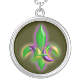 Mardi Gras Colors Fleur-de-lis Necklace Gift Gifts