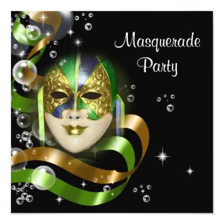 Mardi Gras costume mask PERSONALIZE 5.25x5.25 Square Paper Invitation Card