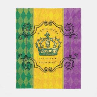 Mardi Gras Crown Family Name Fleece Blanket