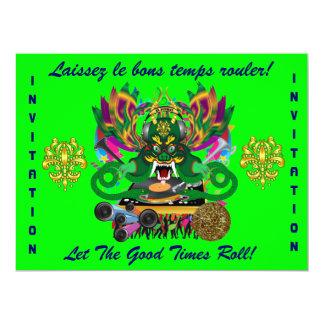 Mardi Gras D. J. Dragon King View Hints please 6.5x8.75 Paper Invitation Card