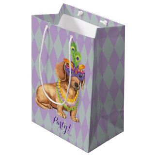Mardi Gras Dachshund Medium Gift Bag