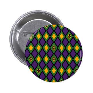 Mardi Gras Diamond Pattern With Fleur De Lis Pins