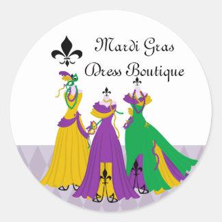 Mardi Gras Dress Shop Round Sticker