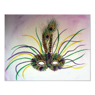 Mardi Gras Feather Mask Invitation or Invites
