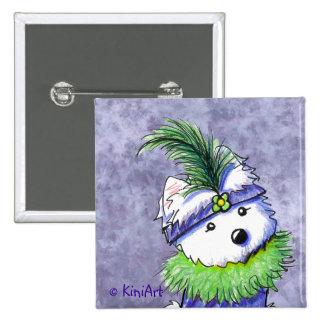 Mardi Gras Flapper Westie Button