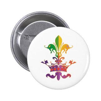 Mardi Gras Fleur de Crown Button