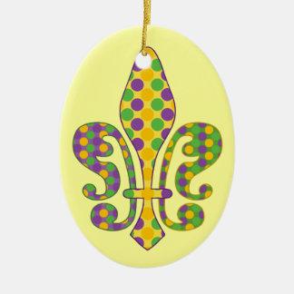 Mardi Gras Fleur de dots Ceramic Oval Decoration