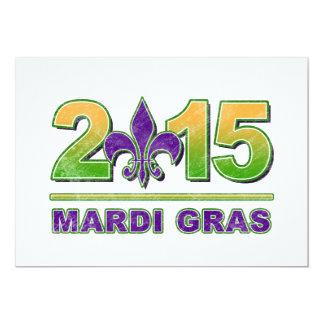 """Mardi Gras Fleur-de-Lis 2015 Invitation 5"""" X 7"""" Invitation Card"""