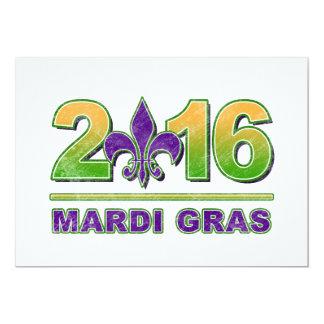 """Mardi Gras Fleur-de-Lis 2016 Invitation 5"""" X 7"""" Invitation Card"""