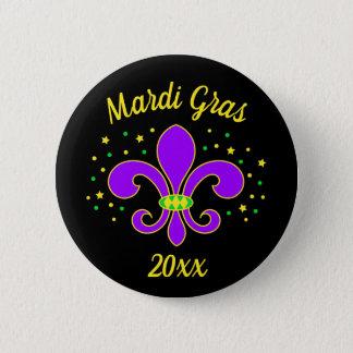 Mardi Gras Fleur-de-lis Add Year 6 Cm Round Badge