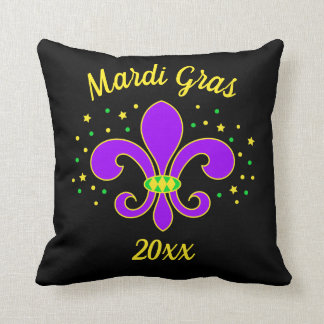 Mardi Gras Fleur-de-lis Add Year Cushion