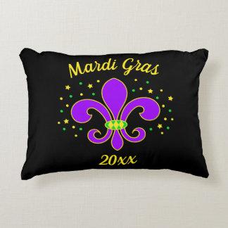 Mardi Gras Fleur-de-lis Add Year Decorative Cushion