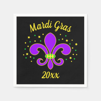 Mardi Gras Fleur-de-lis Add Year Disposable Napkin