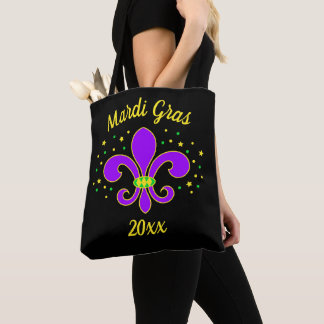 Mardi Gras Fleur-de-lis Add Year Tote Bag