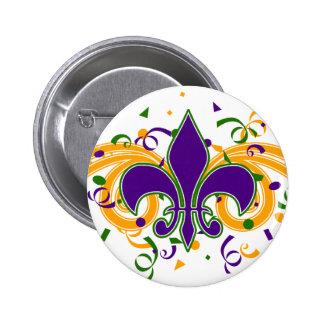 Mardi Gras Fleur-de-Lis Button