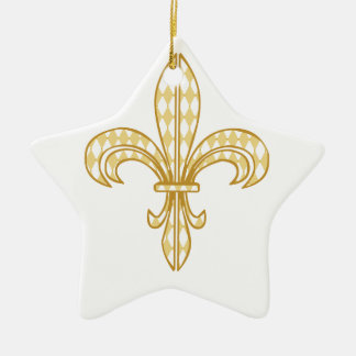 Mardi Gras Fleur De Lis Ceramic Star Decoration
