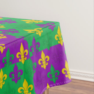 Mardi Gras Fleur-de-lis Checkerboard Pattern Tablecloth