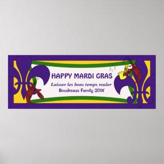 Mardi Gras Fleur de Lis Crawfish Party Banner Print