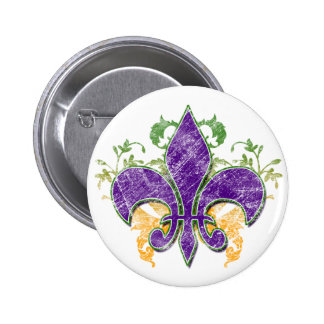 Mardi Gras Fleur-de-Lis Grunge Button