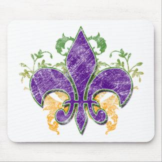 Mardi Gras Fleur-de-Lis Grunge Mousepad