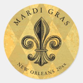 Mardi Gras Fleur-de-lis Harlequin Add Year Classic Round Sticker