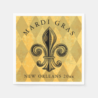 Mardi Gras Fleur-de-lis Harlequin Add Year Disposable Serviette