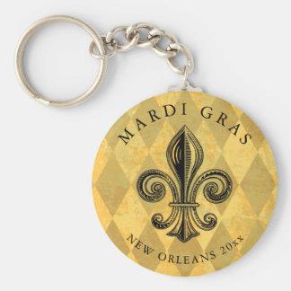 Mardi Gras Fleur-de-lis Harlequin Add Year Key Ring