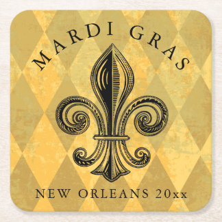 Mardi Gras Fleur-de-lis Harlequin Add Year Square Paper Coaster