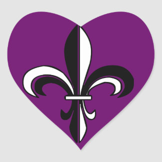 Mardi Gras Fleur De Lis Heart Sticker