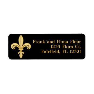 Mardi Gras Fleur De Lis Return Address Label