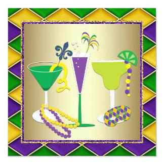 Mardi Gras Fleur De Lis Mardi Gras Party 13 Cm X 13 Cm Square Invitation Card