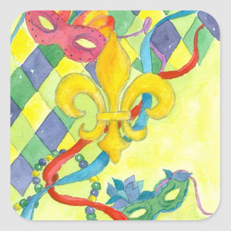 Mardi Gras Fleur De Lis Mask Yellow Watercolor Square Sticker