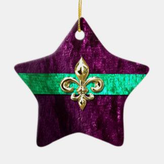 Mardi Gras Fleur De Lis New Orleans Ceramic Star Decoration