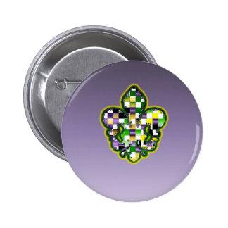 Mardi Gras Fleur De Lis Purple Green Yellow Button