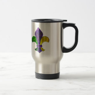 Mardi Gras Fleur De Lis  Purple Green Yellow Travel Mug