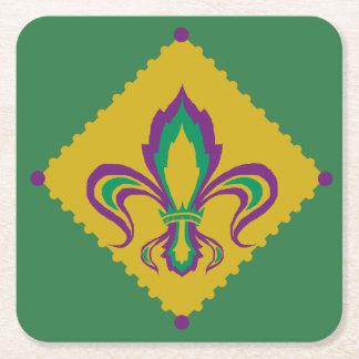 Mardi Gras Fleur De Lis Square Paper Coaster
