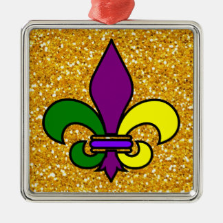 Mardi Gras - Fleur de Lis - SRF Silver-Colored Square Decoration