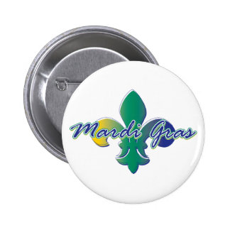 Mardi Gras Fleur de lis tri Pinback Buttons