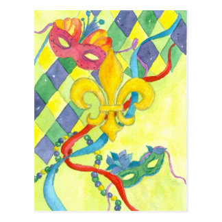 Mardi Gras Fleur De Lis Watercolor Art Yellow Postcard