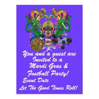 "Mardi Gras & Football 6.5"" x 8.75"" View Hints Plse 17 Cm X 22 Cm Invitation Card"