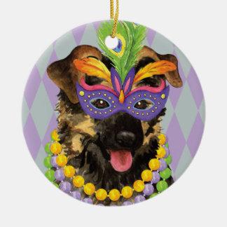 Mardi Gras German Shepherd Ceramic Ornament