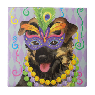 Mardi Gras German Shepherd Ceramic Tile