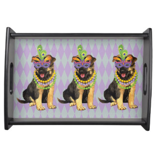 Mardi Gras German Shepherd Serving Tray