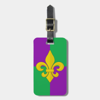 Mardi Gras Gold Fleur-de-lis on Purple and Green Tag For Luggage