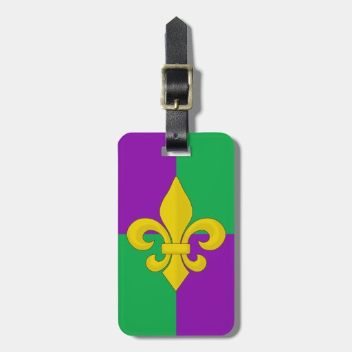 Mardi Gras Gold Fleur-de-lis on Purple and Green Tags For Bags