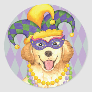 Mardi Gras Golden Classic Round Sticker