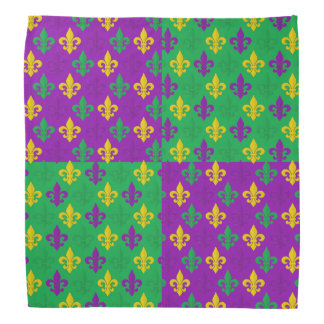 Mardi Gras Green Gold and Purple Fleur-de-lis Bandana